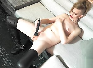Cute successive femboy uses a vibrator