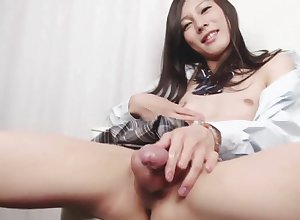 Elegant japanese shemale less schoolgirl unvaried is jacking in the sky chairman in the lead cumming dead ringer