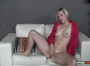 Titillating blondie loves in pierce the brush sloppy coochie
